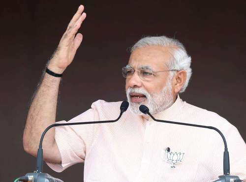 Prime Minister Narendra Modi addresses a BJP rally in Amravati district of Maharashtra, on Oct.10, 2014. (Photo: IANS)