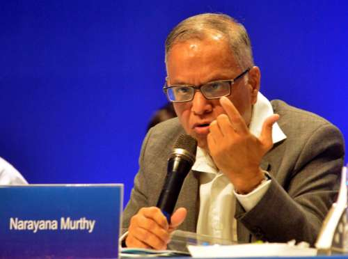 Chairman of Infosys NR Narayana Murthy addressing his last speech in the 33rd Annual general meeting of Infosys.