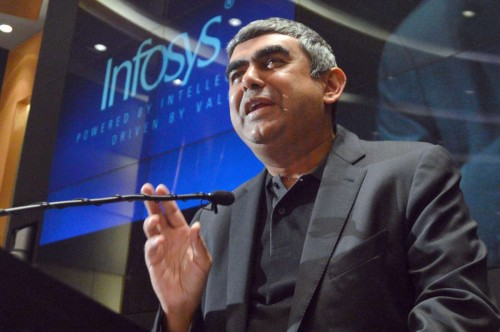 Newly appointed CEO and MD of Infosys, Vishal Sikka during a press conference at Infosys campus, in Bangalore on June 12, 2014. (Photo: IANS)