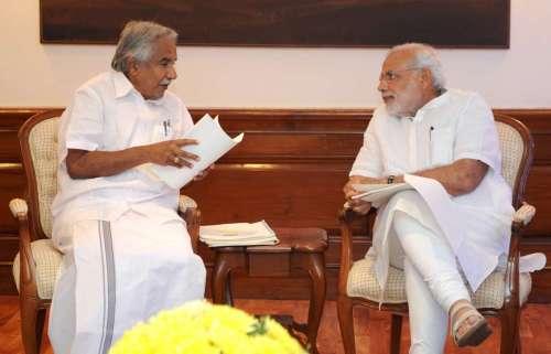 The Chief Minister of Kerala, Shri Oommen Chandy calling on the Prime Minister, Shri Narendra Modi, in New Delhi on October 16, 2014.FILE PHOTO