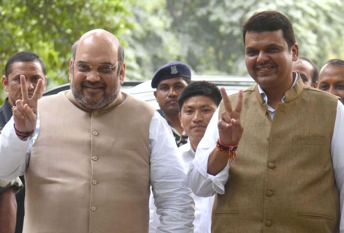 BJP chief Amit Shah with Maharashtra Chief Minister Devendra Fadnavis (File)