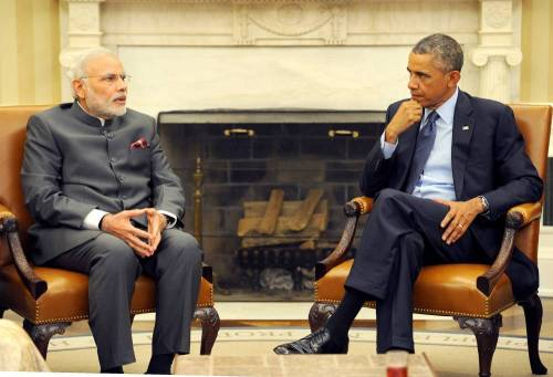 The Prime Minister, Shri Narendra Modi in Expanded meeting with the US President, Mr. Barack Obama, at the White House, in Washington DC .FILE PHOTO