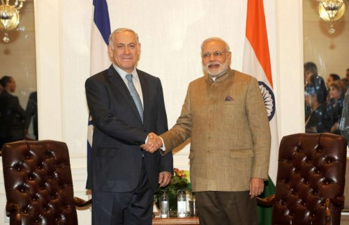 Prime Minister Narendra Modi during a meeting with Prime Minister of Israel, Benjamin Netanyahu in New York, United States of America on Sept. 28, 2014. FILE PHOTO