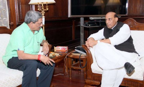 Union Minister for Defence, Manohar Parrikar calls on the Union Home Minister, Rajnath Singh, in New Delhi on Nov 27, 2014.
