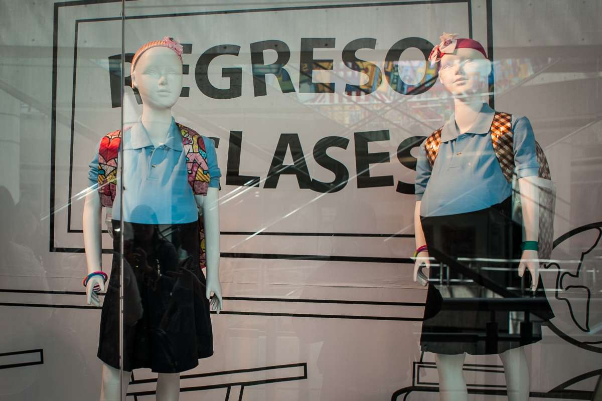 Pregnant teens' mannequins in school uniforms are displayed at a shop in Caracas, Venezuela, on Nov. 13, 2014. Non-government organizations promoting sex education installed pregnant teens' mannequins in school uniforms at a shop to raise awareness of high rate of underage pregnancy.
