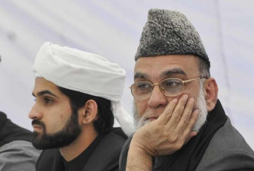The Shahi Imam of Jama Masjid, Syed Ahmed Bukhari with his 19 year-old son Shaban Bukhari, who has been chosen to succeed his father as the 14th Shahi Imam of Jama Masjid, the largest mosque in the country. The annointment of Shaban, will take place Nov 22.