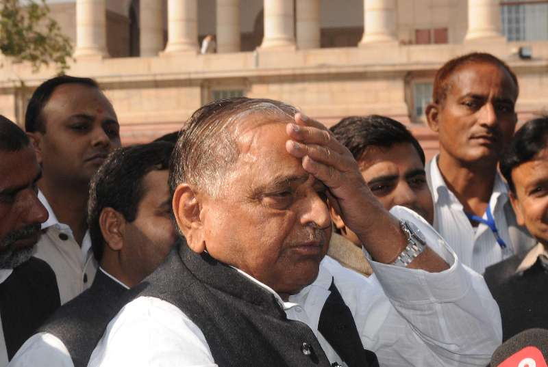 Samajwadi Party chief Mulayam Singh Yadav at the Parliament premises in New Delhi