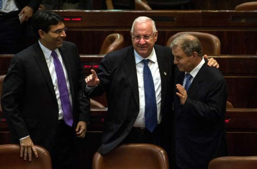 Reuven Rivlin  is greeted at the Knesset  in Jerusalem. FILE PHOTO
