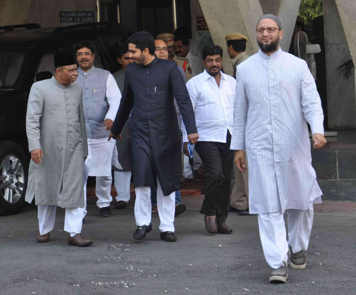 A delegation led by MIM president Asaduddain Owaisi coming out from the secretariat after meeting Telangana Chief Minister K Chandersheker Rao in Hyderabad