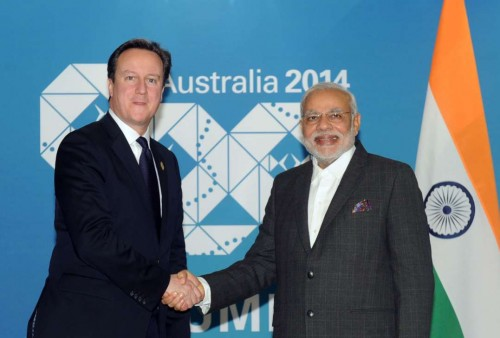 The Prime Minister, Shri Narendra Modi meeting the Prime Minister of United Kingdom, Mr. David Cameron, in Brisbane, Australia on November 14, 2014.
