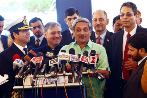 Union Minister for Defence Manohar Parrikar addresses press at the inauguration of the National Command Control Communication and Intelligence (NC3I) network at at the Information Management and Analysis Centre (IMAC) in Gurgaon on Nov 23, 2014. Also seen Union MoS Defence Rao Inderjit Singh and the Chief of Naval Staff, Admiral R.K. Dhowan.