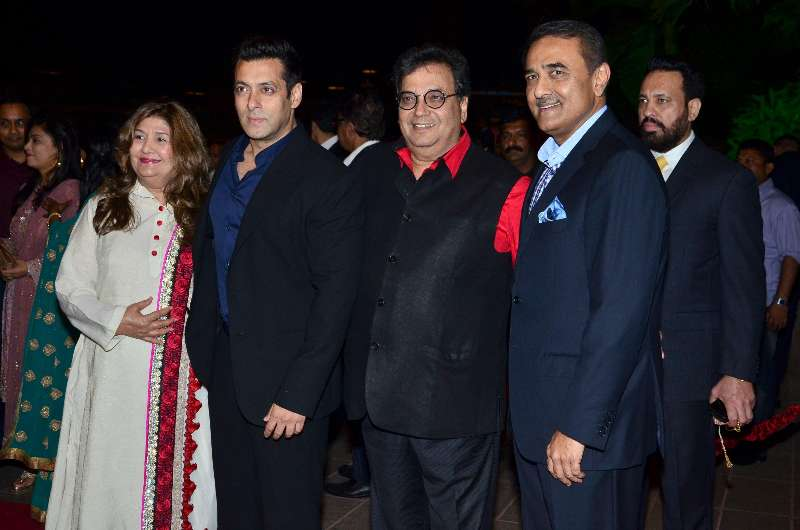 Mumbai: Actor Salman Khan with filmmaker Subhash Ghai and Nationalist Congress Party leader Praful Patel during Arpita Khan's marriage reception in Mumbai on November 21, 2014. (Photo: IANS)