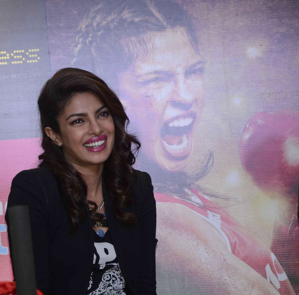 Actress Priyanka Chopra during a press conference to promote her film 'Mary Kom' in Mumbai on Sept 11, 2014. (Photo: Sandeep Mahankal/IANS)