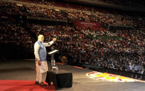 Sydney: Prime Minister, Narendra Modi addresses a gathering at the Community Reception, held at Allphones Arena, in Sydney, Australia on Nov 17, 2014.