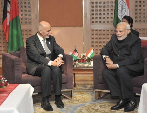 The Prime Minister, Shri Narendra Modi meeting the President of Afghanistan, Dr. Ashraf Ghani, at the 18th SAARC Summit, in Kathmandu, Nepal on November 26, 2014.