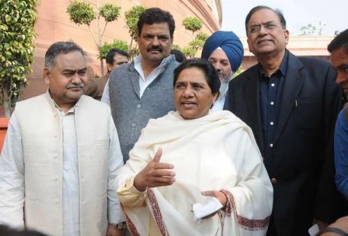 BSP chief Mayawati at the Parliament premises in New Delhi. FILE PHOTO