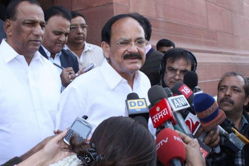 The Union Minister for Urban Development, Housing and Urban Poverty Alleviation and Parliamentary Affairs, M. Venkaiah Naidu addresses press at the Parliament premises in New Delhi.
