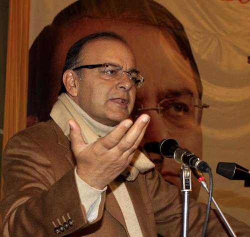 Union Minister for Finance, Corporate Affairs, and Information and Broadcasting Arun Jaitley addresses during BJP's Vision Kashmir in Srinagar, on Dec 3, 2014.