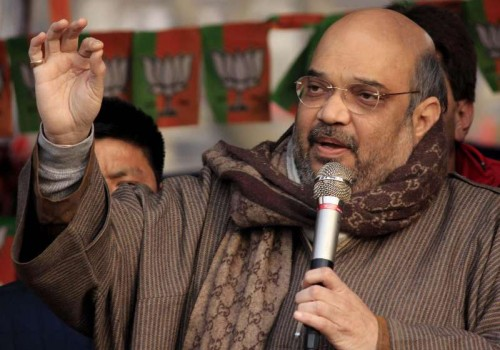 BJP chief Amit Shah addresses a rally in Jawahar Nagar of Srinagar on Dec 11, 2014.