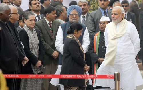 Former Prime Minister Manmohan Singh, Congress president Sonia Gandhi, External Affairs Minister Sushma Swaraj, Prime Minister Narendra Modi, senior BJP leader L K Advani and others arriving to pay homage to Parliament attack martyrs on its 13th anniversary in New Delhi on Dec. 13, 2014.