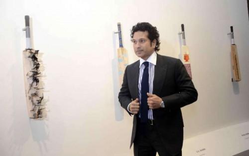 Cricket Legend Sachin Tendulkar during inauguration of `Deconstructed innings` an art exhibition in Mumbai, on Dec 17, 2014.