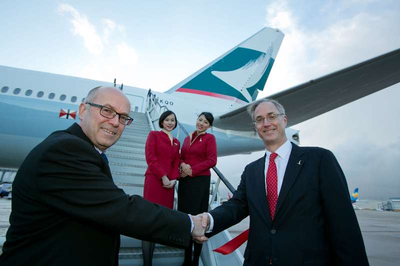 Angus Barclay, General Manager, Cathay Pacific's European operations, with Charlie Cornish, CEO of Manchester Airports Group (MAG) at the airport