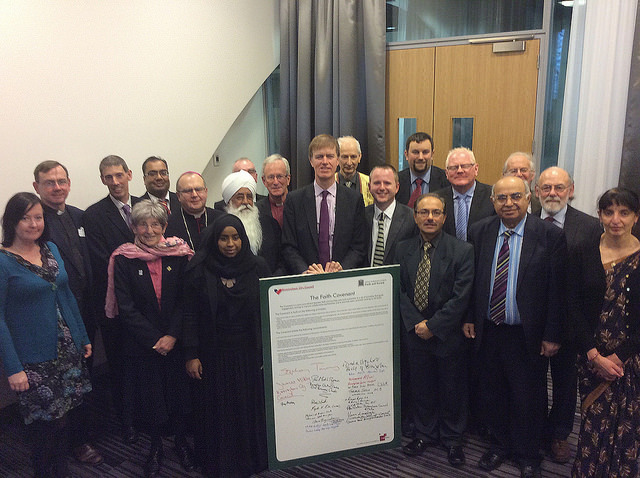 Representatives from the city council and Birmingham's many faith communities are joined by Stephen Timms MP at the launch of the new Birmingham Faith Covenant