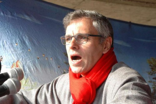 Jammu and Kashmir Chief Minister Omar Abdullah addresses during a rally in Shopian district of Jammu and Kashmir on Dec 11, 2014.