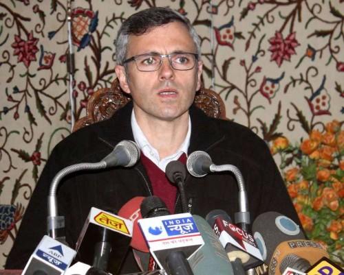 Jammu and Kashmir Chief Minister Omar Abdullah addresses a press conference in Srinagar, on Dec 22, 2014.