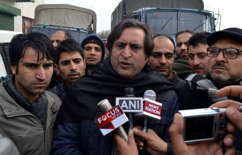 People's Conference leader Sajjad Gani Lone talks to press in Handwara, Jammu and Kashmir on Dec 23, 2014.