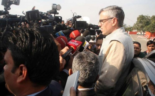 Jammu and Kashmir Chief Minister Omar Abdullah talks to press after tendering his resignation to Jammu and Kashmir Governor N.N. Vohra in Jammu on.
