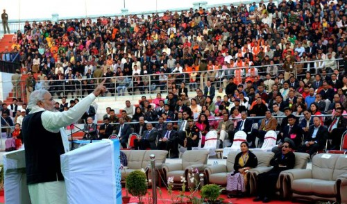 The Prime Minister, Shri Narendra Modi addressing at the closing function of Manipur Sangai Festival-2014, in Imphal on November 30, 2014.