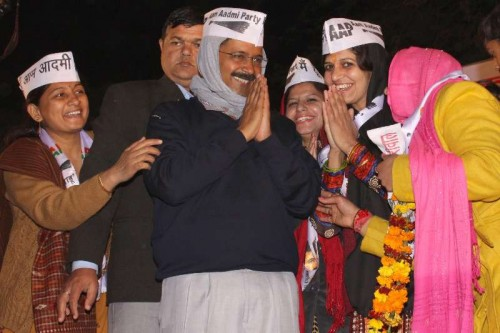 Aam Aadmi Party (AAP) Arvind Kejriwal during a public meeting at Nanakpura in New Delhi, on Jan 21, 2015