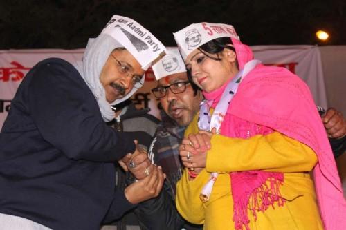 Aam Aadmi Party (AAP) Arvind Kejriwal during a public meeting at Nanakpura in New Delhi, on Jan 21, 2015.