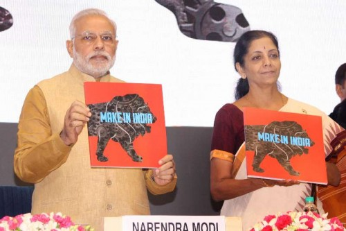 "Prime Minister Narendra Modi with Union Minister of State for Commerce & Industry (Independent Charge), Finance and Corporate Affairs, Nirmala Sitharaman launching ""Make in India"" campaign in New Delhi on Sept. 25, 2014."