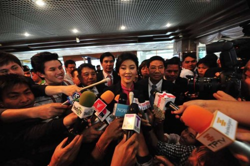 Former Thai Prime Minister Yingluck Shinawatra  arrives at parliament in Bangkok, Thailand, Jan. 9, 2015. The impeachment case against former Thai Prime Minister Yingluck Shinawatra, in which the former premier has been accused of dereliction of duty in overseeing a controversial rice-pledging scheme, is set to open on Friday and Yingluck is expected to appear before the National Legislative Assembly to deliver a defense statement.