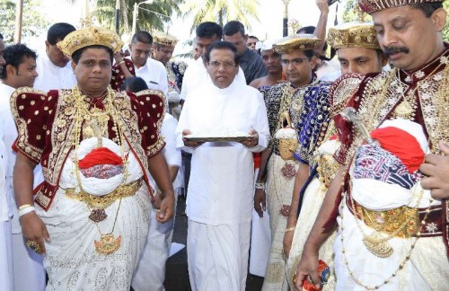 New President Maithripala Sirisena of Sri Lanka visits the Temple of Tooth in Kandy, Sri Lanka, on January 11, 2015. In Sri Lanka where 70 percent of nation's population are buddists, newly-elected president should visit the most well-known buddist temple of the country according to custom.