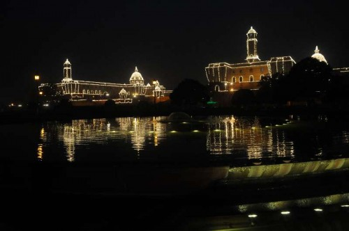 A view of an illuminated North and South Block in New Delhi, on Jan 21, 2015.