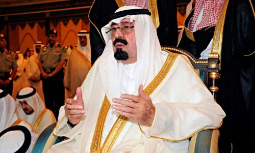 Saudi King Abdullah bin Abdulaziz Al Saud attends prayers on the first day of Eid al-Fitr which marks the end of the holy month of Ramadan, at Al-Safa Palace in Mecca August 30, 2011.