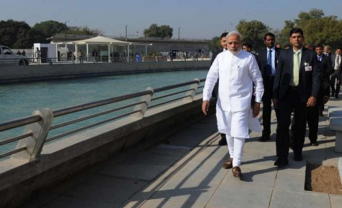 The Prime Minister, Shri Narendra Modi at Mahatma Temple premises, in Gandhinagar on January 08, 2015.
