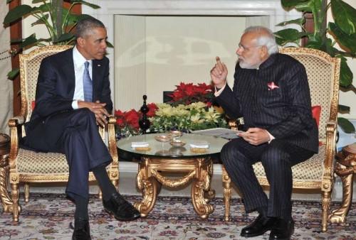 The Prime Minister, Shri Narendra Modi with the US President, Mr. Barack Obama, at Hyderabad House, in New Delhi on January 25, 2015.