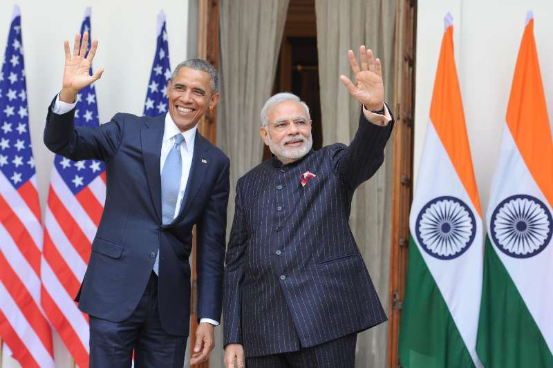 Prime Minister Mr Narendra Modi with the US President, Mr. Barack Obama, at Hyderabad House, in New Delhi  (File)