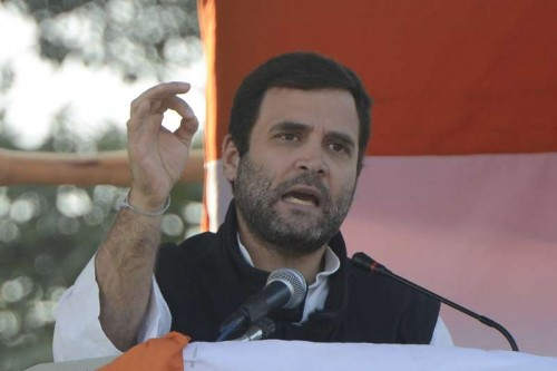 Congress vice president Rahul Gandhi addressing an election rally in New Delhi