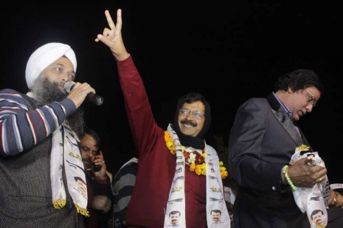 Aam Aadmi Party (AAP) chief Arvind Kejriwal addresses a rally
