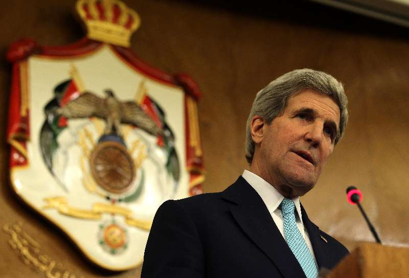 U.S. Secretary of State John Kerry speaks during a press conference