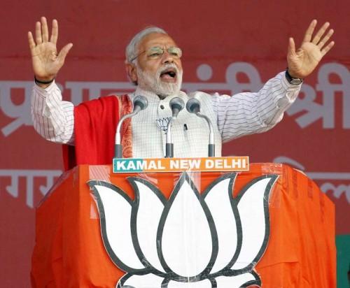 Prime Minister Narendra Modi addresses during a rally in Delhi Assembly Election in New Delhi on Feb. 4, 2015.