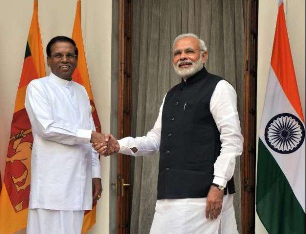 The Prime Minister, Shri Narendra Modi and the President of the Democratic Socialist Republic of Sri Lanka, Mr. Maithripala Sirisena, at Hyderabad House, in Delhi on February 16, 2015.