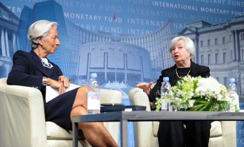 Christine Lagarde, Managing Director of the International Monetary Fund (IMF), looks as U.S. Federal Reserve Chair Janet Yellen speaks at the headquarters of the IMF in Washington D.C (file)