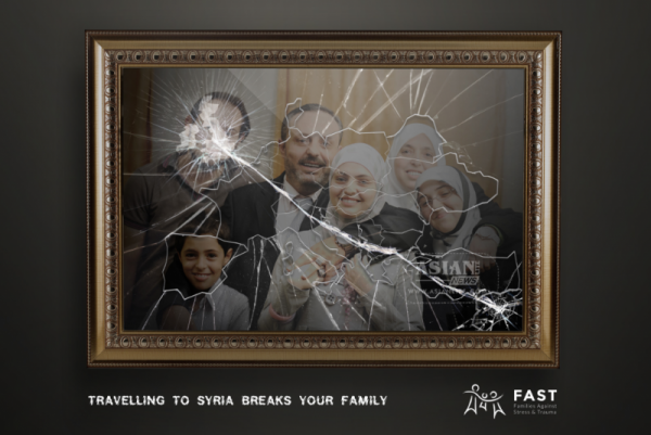 FAST campaign poster urging Muslim families to help their relatives leaving families to join ISIS