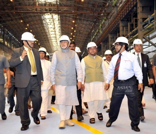 Prime Minister Narendra Modi visits the Rourkela Steel Plant on April 01, 2015. Also seen Governor of Odisha S C Jamir, Union Minister for Mines and Steel Narendra Singh Tomar and others.